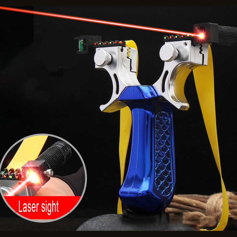 새로운 레이저는 새총을 목표로 4 가지 색상을 선택할 수 있습니다 강력한 야외 사냥 새총 플랫 고무 밴드 슈팅 사용