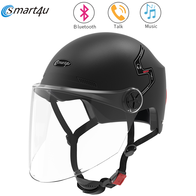 2020 Smart4u E10 Smart Bike Motorcycle Bluetooth Helmet Electric Car Automatic Bicycle Helmet Cycling Equipment Protective Mask