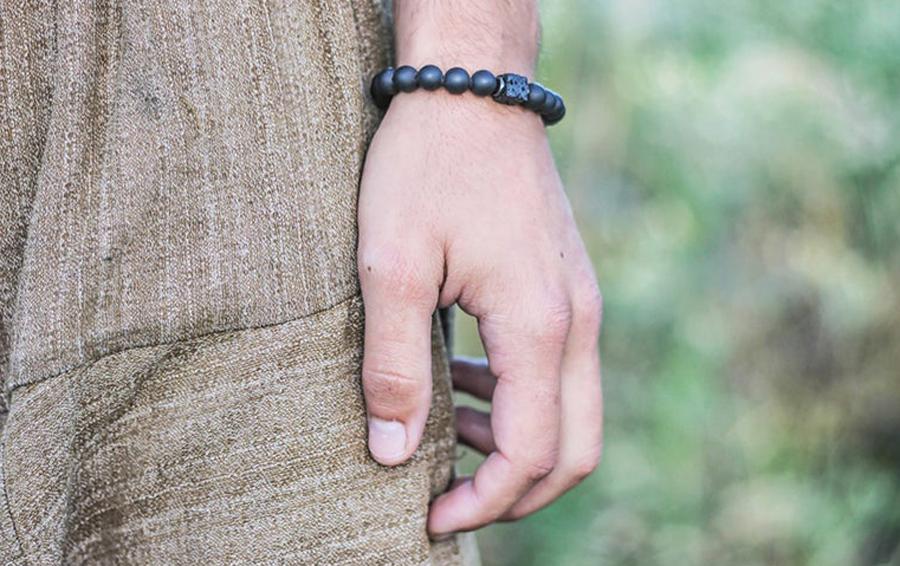 H1bcf97a9dd9c45f39f0f2fda59d4b8f1p Men Bracelet Natural Matte Stone Hematite Beads Bracelets