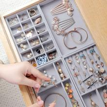 Velvet Jewelry Storage Tray Display Jewel Holder Stand Bracelet Necklace Ring Storage Box Showcase Drawer Jewelry Organizer