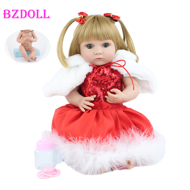 40cm Full Silicone Body Blonde Reborn Baby Doll Toy For Girl Soft Vinyl Red Long Dress Mini Newborn Babies Doll Child Xmas Gift