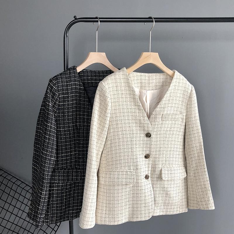 Temperament Casual Women's Blazer 2019 Autumn New Slim Plaid Ladies Small Suit Fashion Office Jacket Suit Female High Quality