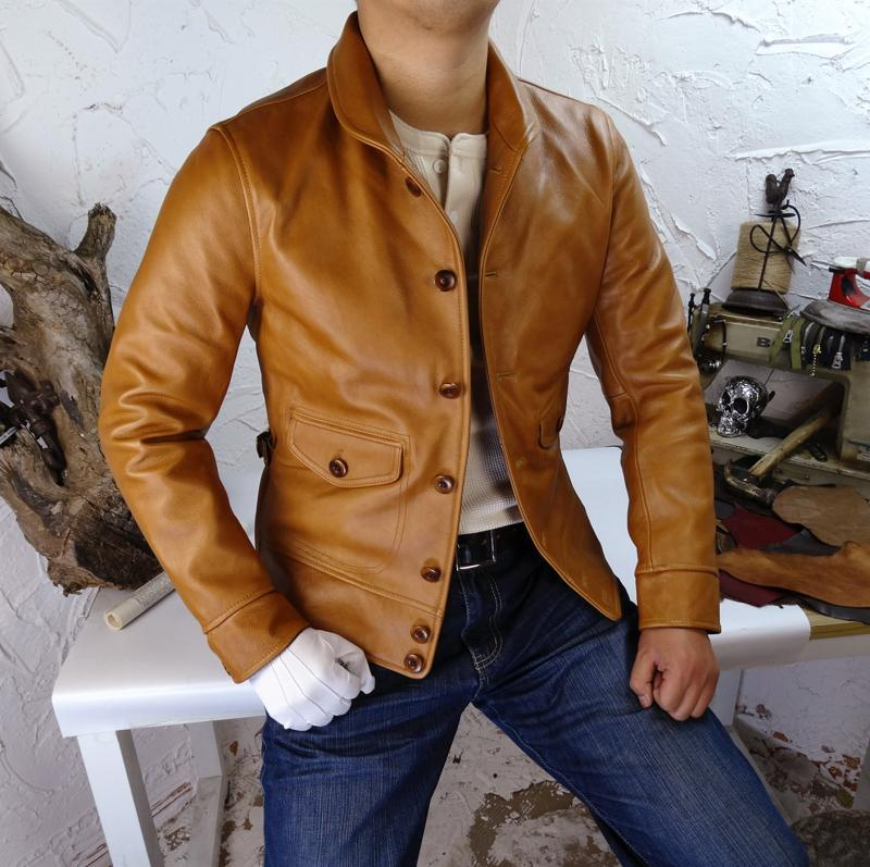 Итальянская куртка из натуральной кожи с воском, с воротником шалью, куртка из воловьей кожи оранжевого и коричневого цвета, мотоциклетная куртка|Кожаные куртки|   | АлиЭкспресс