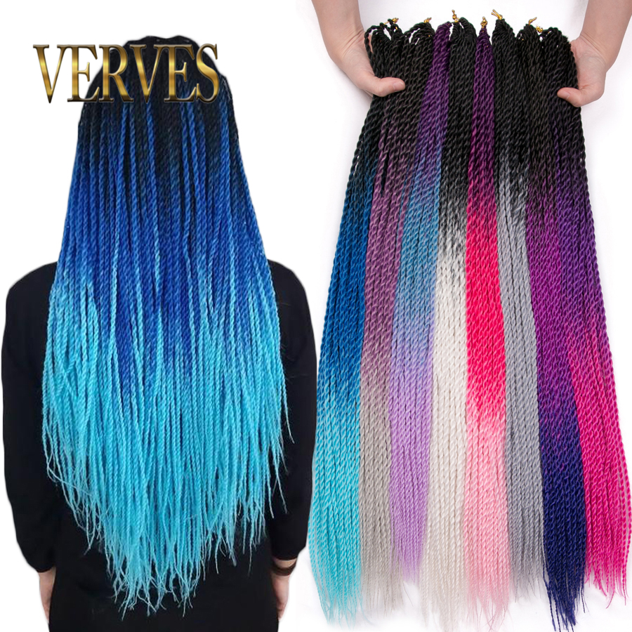 VERVES Ombre Senegalese Twist Hair Crochet Braids 24 Inch 30 Roots/pack Synthetic Braiding Hair For Women Grey,blue,pink,brown