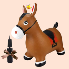 Bouncy Horse Brown Inflatable Hopper Animal Hopper Ride-on Toy for Children Boys and Girls Toddlers With Pump