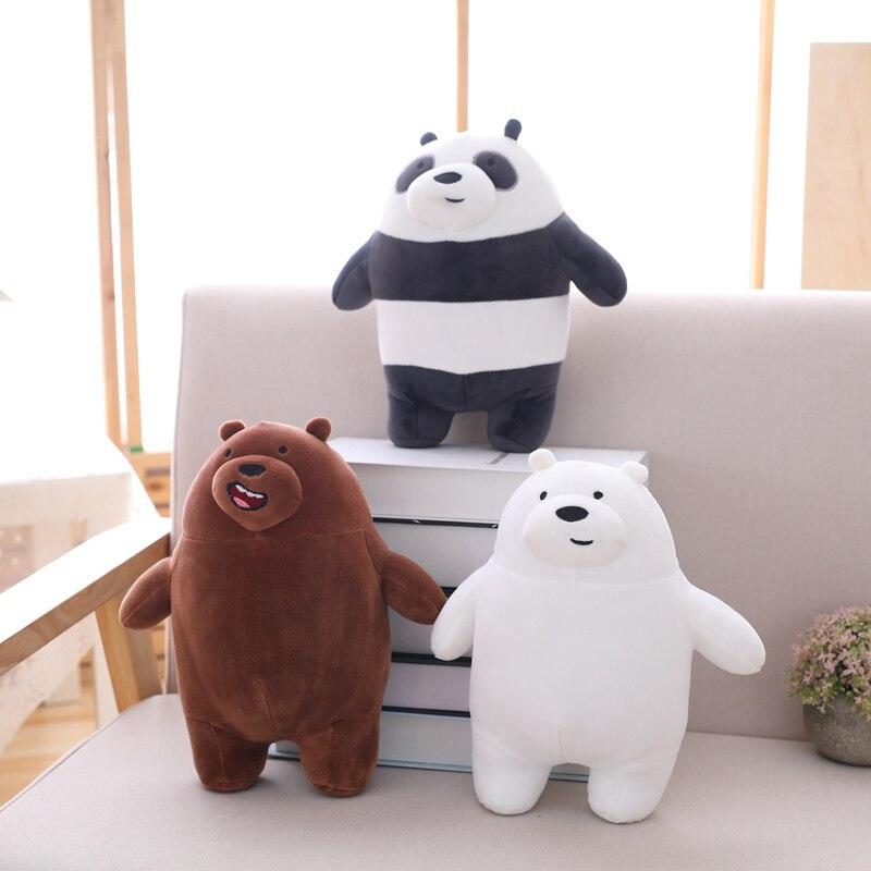 30cm 40cm 50cm New Standing We Bare Bears Squishy Naked Three Bears Grizzly/panda/ice Bear Plush Toy 3D Pillow Birthday Gift1pcs