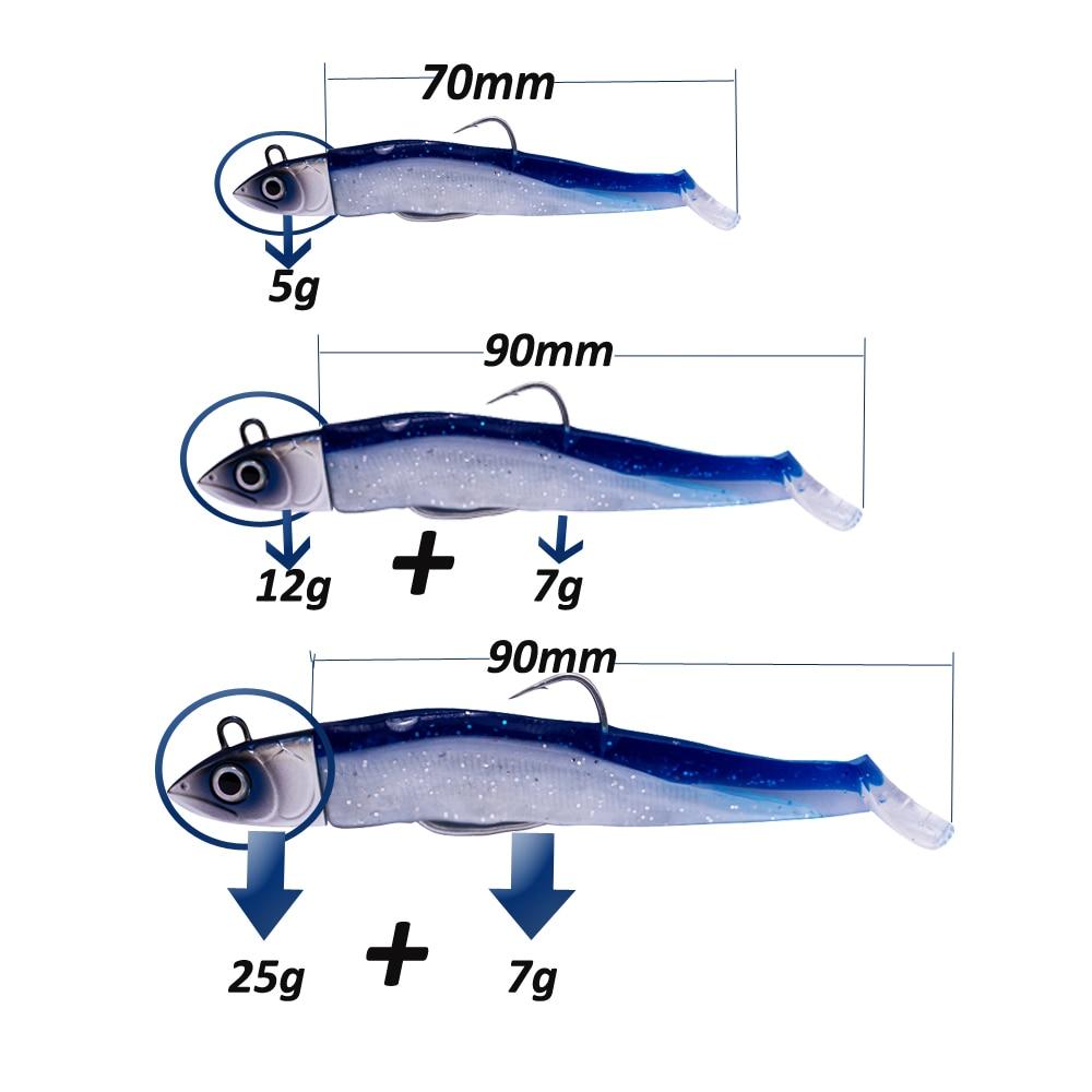 Hunthouse Soft Lure Black Minnow Soft Bait Fishing Equipment  Fishing Sea 12g 90mm 5g 70mm With Jig Head