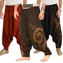 Casual cintura elástica folgado hippie yoga harem calças homens baggy hippie boho cigano aladdin hippie boho aladdin alibaba harem