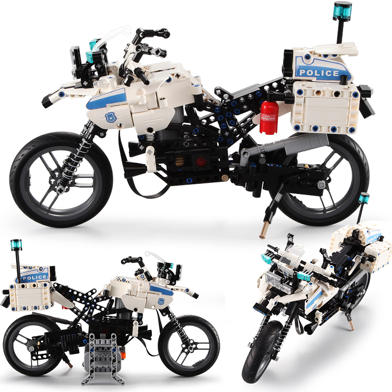 Compatib legoed technic city police motobike sets truck racer motos moc motorcycle diy model building blocks