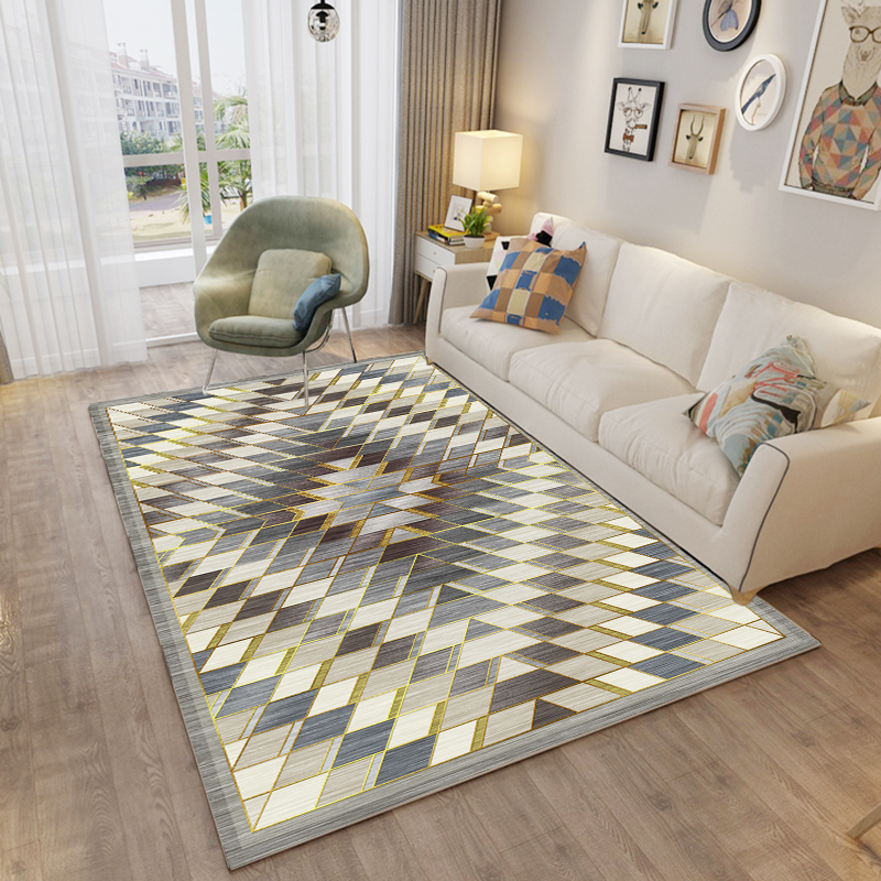 Image 4 - Nordic Carpet Rug For Living Room Modern Printing 3d Geometric Floor Rug Non slip Antifouling Carpet For Parlor Factory Supply-in Carpet from Home & Garden