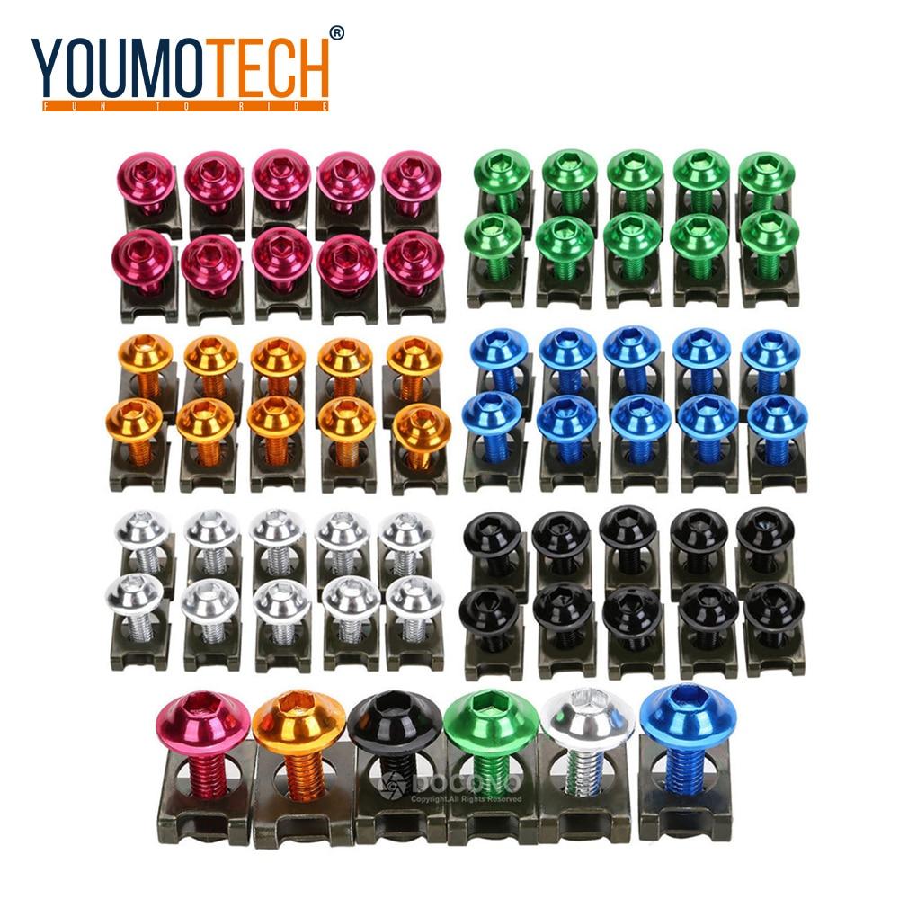 Universal 6mm M6 Fairing Body Bolts Spire Fastener Clips Screw Nuts For Yamaha Yzf R1 R6 MT07 MT09 SUZUKI GSXR1000 K7 GSXR 1000