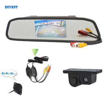DIYKIT Wireless Auto Parking System Waterproof Parking Radar Sensor Car Camera + 4.3 inch Car Mirror Monitor Rear View Monitor