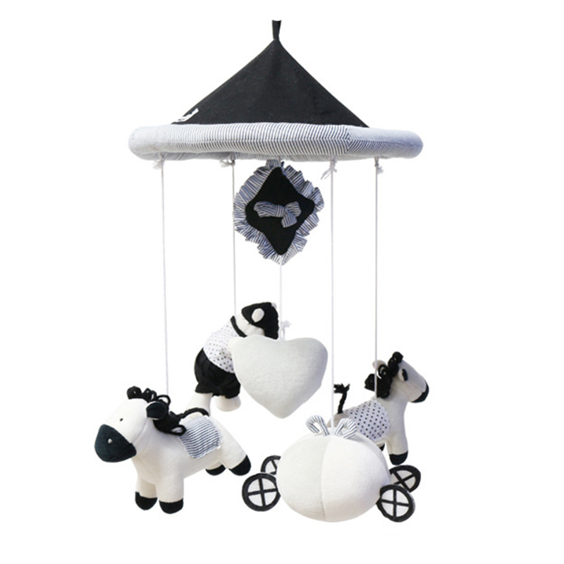 Baby Rattles Early Education Cute Horse Bear Hanging Baby Crib Mobile Bed Bell Toy Rotary Movement Music Box Baby Rattles Toys