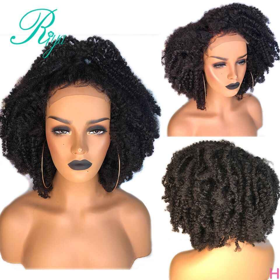 13X6 150% Invisible Short Cut Bob Blunt Afro kinky Curly Lace Front Human Hair Wigs Preplucked For Black Women Brazilian Remy