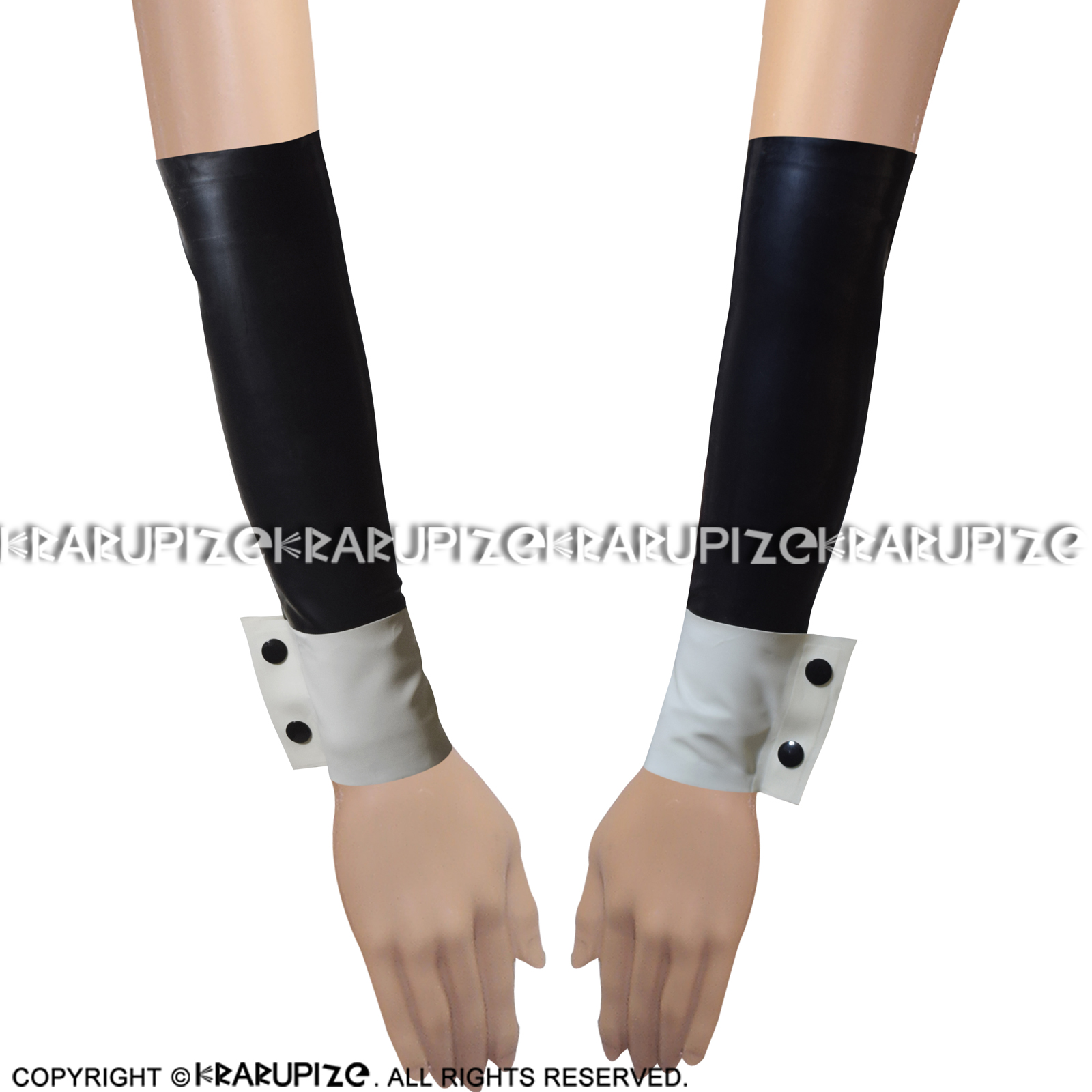 Black With White Sexy Latex Sleeves Buttons In Cuffs Rubber Gloves Mittens ST-0031
