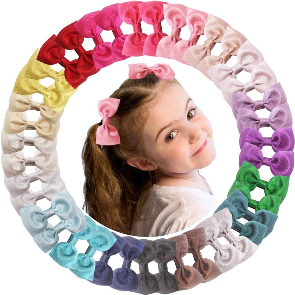 40 Pcs 2.75 Inch Hair Bow Alligator Clips For Baby Girl Boutique Polyester Ribbon Hair Bands Hair Accessories For Newborn Infant