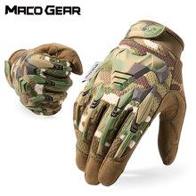 Multicam Tactical Glove Camo Army Military Combat Airsoft rower Outdoor Hiking strzelanie Paintball polowanie pełna Finger Glove(China)