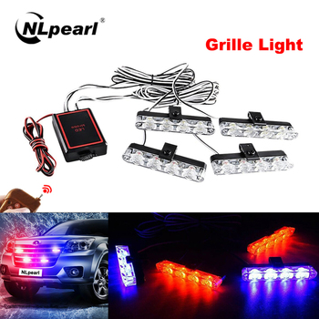 NLpearl 1set 12V Grille LED Stroboscopes Light for Car White Yellow Red Blue LED Strobe Light Emergency Flashing Police Light 16 led red blue car police strobe flash light dash emergency 18 flashing light warning lamp white amber red blue yellow