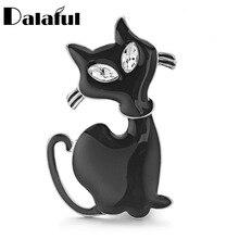 Dalaful Cute Black Cat Brooch Pins Rhinestone Eyes Jet Cat Animal Brooches For Women Men Collar Cat Hats Jewelry Best Gift Z068