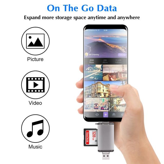 GOOJODOQ Card Reader Micro USB 2.0 Type C to SD Micro SD TF Adapter Accessories OTG Cardreader Smart Memory SD Card Reader 4