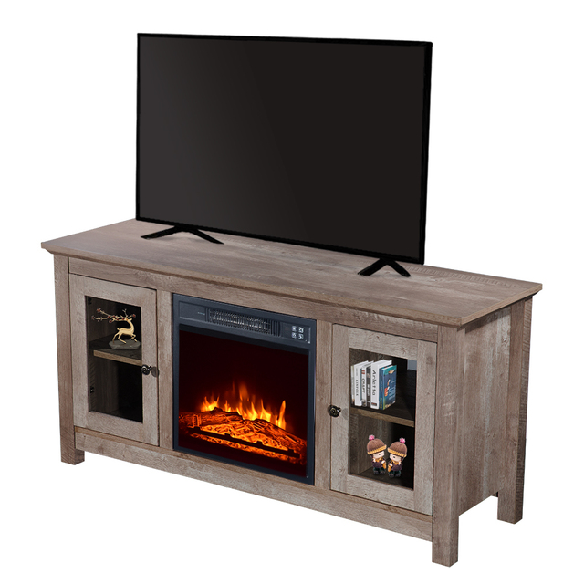 "51"" Log Cyan Fireplace TV Cabinet 2"