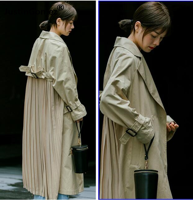 japaness Vintage Double Breasted   Trench   Coat streetwear ladies Pleated chiffon patchwork Windbreaker Outwear