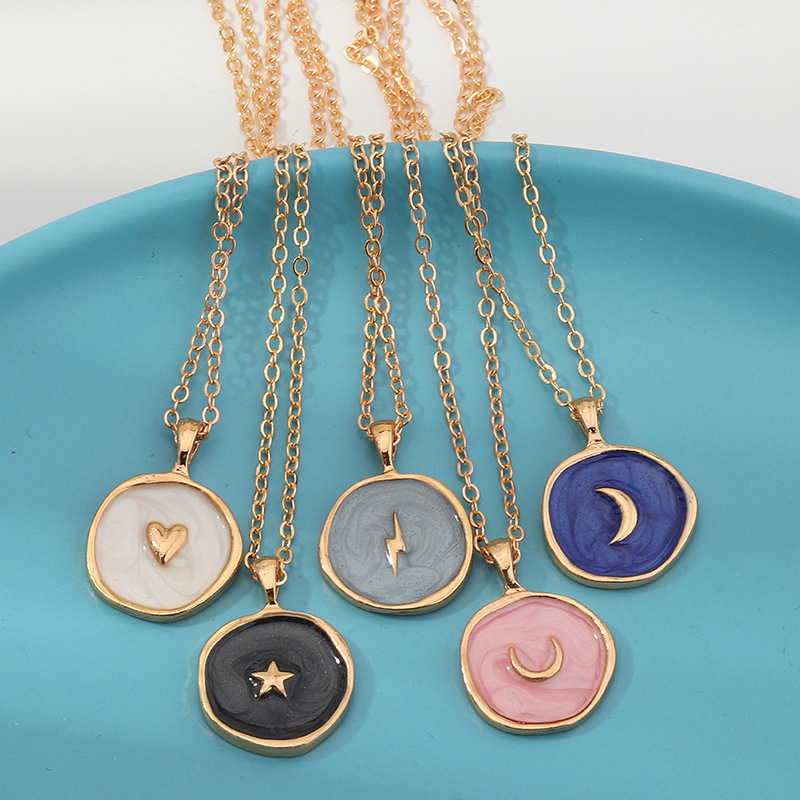 Simple Stars Moon Necklaces Fashion Europen Alloy Oil Drop Women Long Heart Round Golden Pendant Necklace Jewelry For Girls