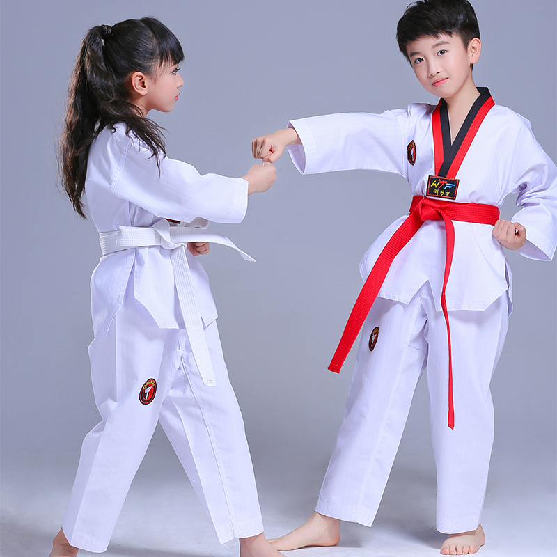 Kids Taekwondo Uniform Taekwondo Uniforms Children Karate Judo Taekwondo Dobok Suit Children Long Sleeve TKD Clothing