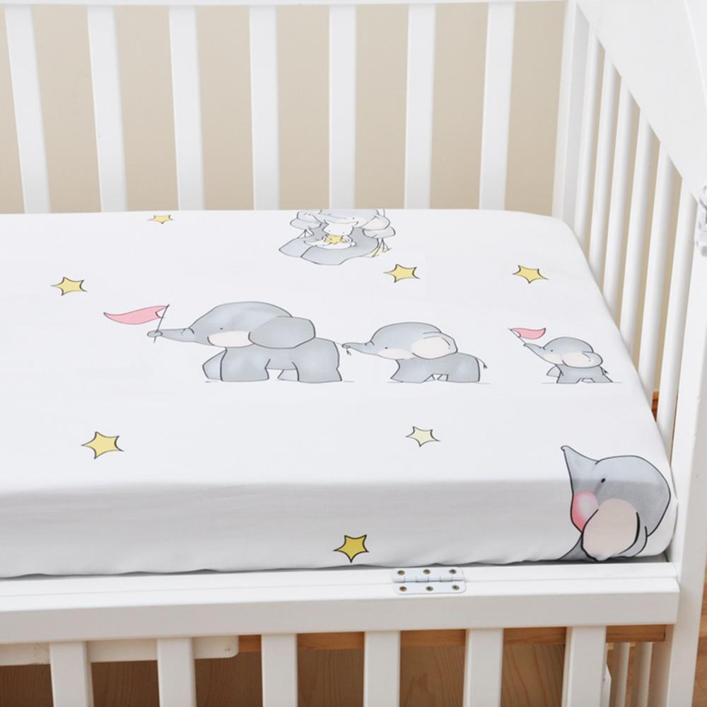 1 Newborn Bed Cover Soft Breathable Prevent Sweating Cotton Baby Bed Sheet Crib Cover with Elastic Band Home Decor