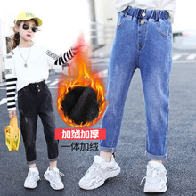 Straight-Pants Jeans Trousers Teenage Girls Winter Kids Children Denim Button Warm Autumn
