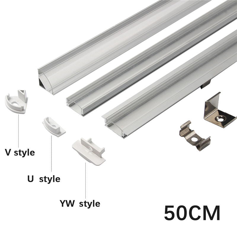 1set 50cm LED Bar Lights Aluminium Profile Transparent/Milky Cover U/V/YW Style Shaped For LED Strip Light Parts