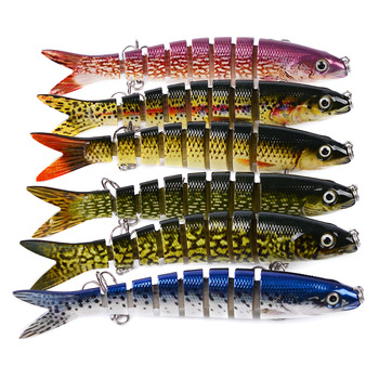 Fishing Lure Multi-section bait Artificial fish 13cm 19g 3D Eyes 8 Segments Lifelike Fishing Hard Lure Fishing tackle image