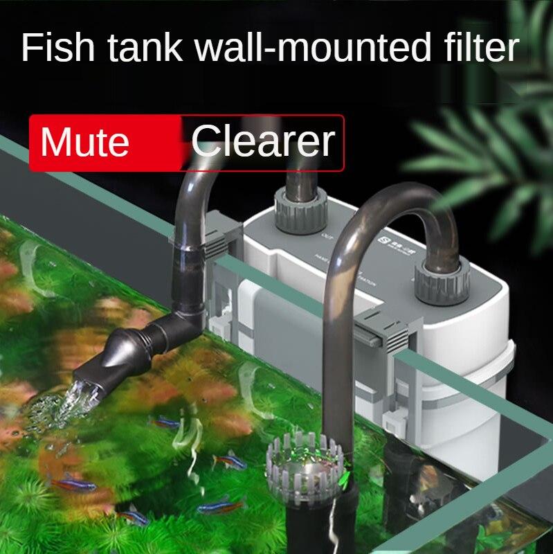 Fish Tank Filter Pump Aquarium External Waterfall Filter Wall-mounted Small Circulation Filter Electric Remove Oil Film