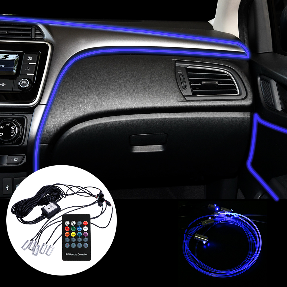 LEEPEE Fiber Optic Atmosphere Lamps Ambient Lamp App Control 6 Meter Car Interior Light Remote Control RGB Auto Decorative Light