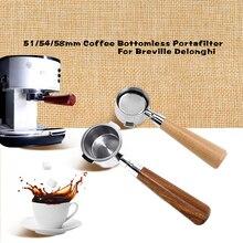 Coffee Bottomless PortafilterสำหรับDelonghi EC680/EC685กรอง51/54/58มม.กรองตะกร้าDoseแหวนอุปกรณ์เสริมกาแฟ