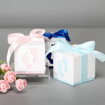 5 sztuk stopy dziecka cukierki pudełko urodziny pierwsza komunia dziewczyna chłopiec Baby Shower ślub sprzyja Dragee chrzest pudełko ciasto opakowania tanie i dobre opinie pearl paper Chłopiec i Dziewczynka WP021-5 Ślub i Zaręczyny CHRISTMAS Birthday party Chrzest chrzciny THANKSGIVING