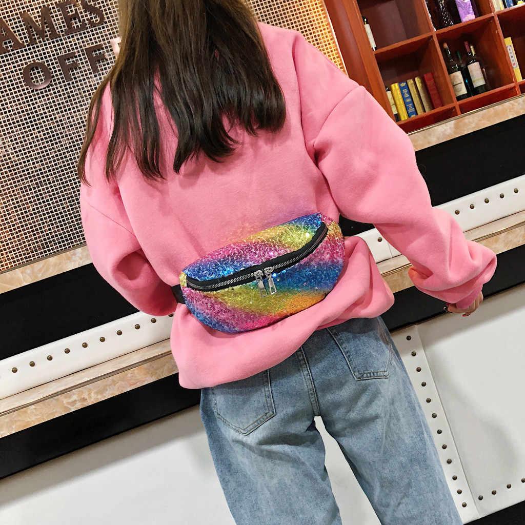 Holografik kadın bel çantası Hologram deri kadın moda seyahat bel çantası lazer kız okul Casucal çanta nerka riñoneras # ZC