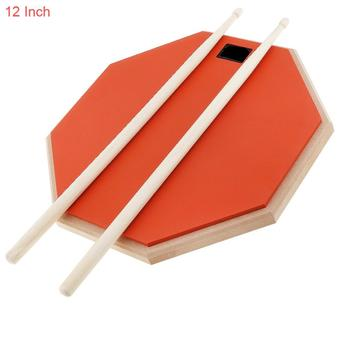Dumb drums 12 Inch Rubber Wooden Dumb Drum Practice Training Drum Pad with Drum Sticks dp 850 practice drum pad lightweight and portable design cherub