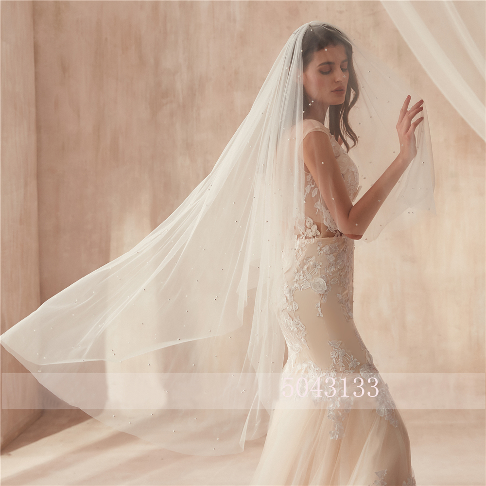 Free Shipping Wedding Accessories 2020 Two Layers Beads Pearls Ivory Tullw Bride Veil Formal Wedding Veils With Comb