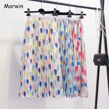 Marwin 2019 New Coming Summer Fresh Balloon Printing Pleated Women Skirt A Line High Street European Style Mid calf Women Skirts