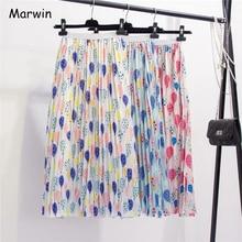 Marwin 2019 Novo Próximo Verão Fresco Balão Impressão Mulheres Saia Plissada Estilo Mid calf A Line High Street Europeia mulheres Saias