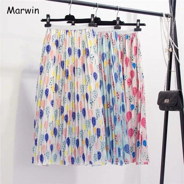 Marwin jupe plissée pour femmes ballon frais imprimé, nouvelle collection été 2019, jupe plissée pour femmes, ligne a, rue, Style européen, mi mollet