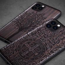 Nowy dla iPhone 11 Pro Case czarny heban drewno pokrywa dla iPhone 11 2019 rzeźbione drewniane TPU zderzak Case dla iPhone 11 Pro Max