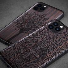 を iphone 11 プロケース黒黒檀 iphone 11 2019 木彫り tpu バンパーケース iphone 11 プロマックス