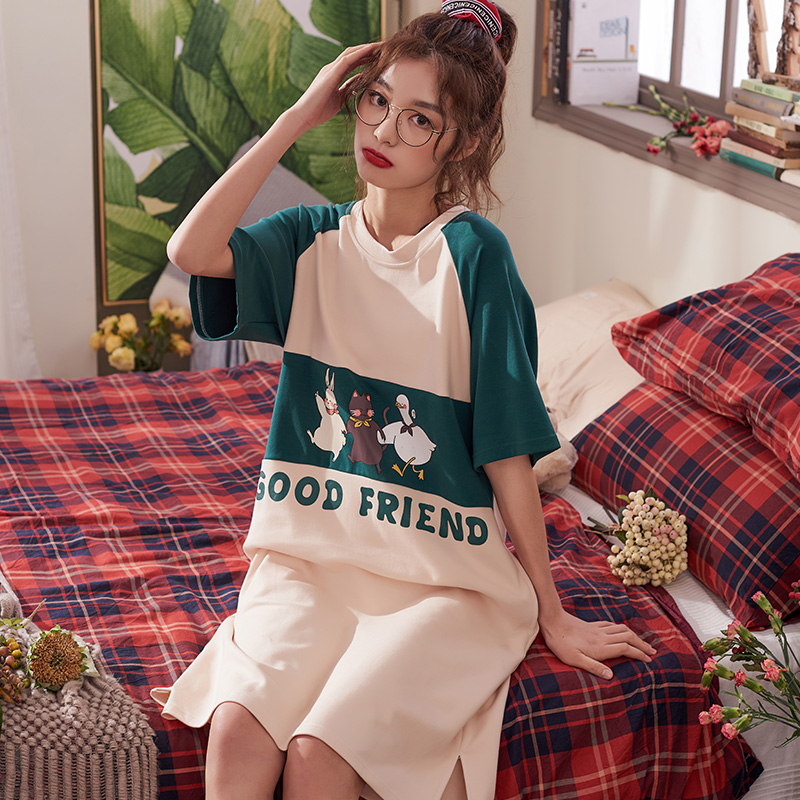 Perfering Sleepwear Women New Thin Cartoon Printed Short Sleeve Cute Casual Homewear Female Pyjamas Night Dress Nightgown Girl