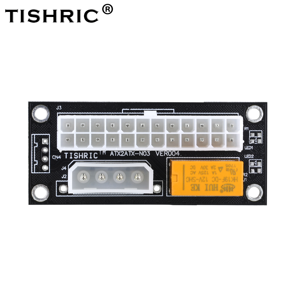 TISHRIC Black Dual PSU Power Supply Sync Adapter Add2psu <font><b>ATX</b></font> 24Pin To <font><b>4pin</b></font> Molex Synchronous Connector Riser <font><b>Cable</b></font> Miner Mining image
