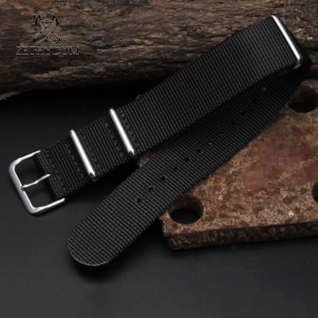 Simple and pure color Outdoor sport Nylon canvas watch belt Waterproof and sweat proof 16 18 20 22 24 Military Watch male strap 2