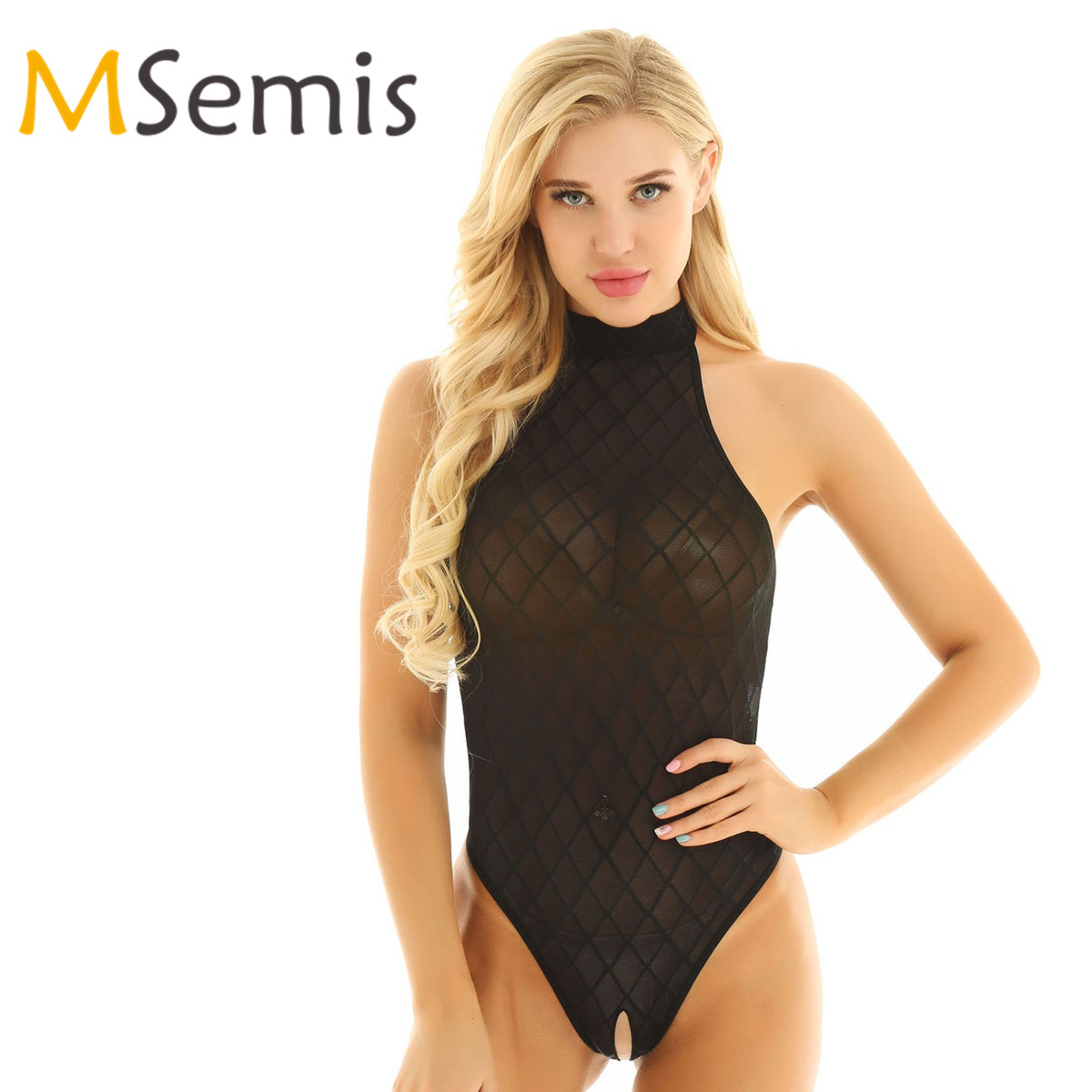 Women's Crotchless Swimsuit Bodysuit See Through Swimwear Mesh High Cut Open Crotch Gymnastics Leotard Bodysuit Bath Clothes