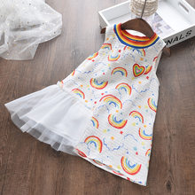 2020 Summer Kids Princess Dress For Girl Sleeveless Cartoon pattern Mesh Girl Wedding Dress Casual Toddler Baby Clothes 2-6T(China)