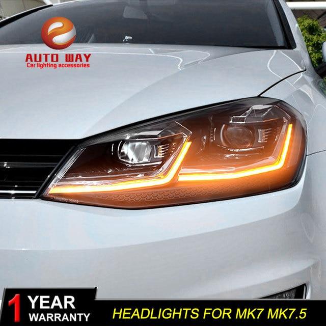 รถจัดแต่งทรงผมหัวโคมไฟสำหรับVW Golf7 ไฟหน้าGolf 7 MK7 2013 2017 LEDไฟหน้าDRLเลนส์คู่beam Bi Xenon HID